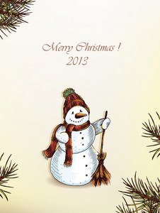 Christmas Vector Illustration With Snow Man And Fir