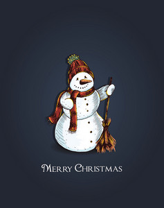 Christmas Vector Illustration With Snow Man
