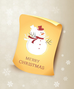 Christmas Vector Illustration With Snowman And Old Paper