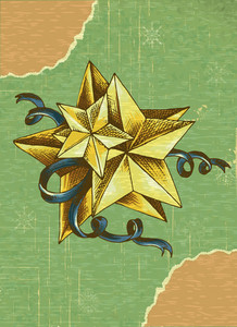 Christmas Vector Illustration With Star And Torn Paper