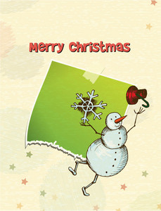 Christmas Vector Illustration With Sticker And Snow Man