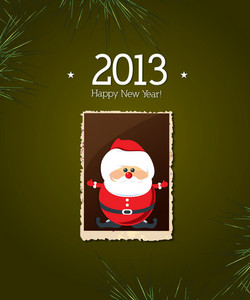 Christmas Vector Illustration With Sticker Santa And Photo Frame