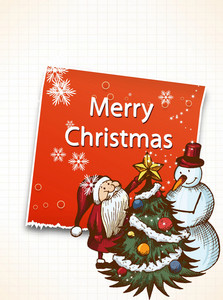 Christmas Vector Illustration With Sticker,santa And Snow Man