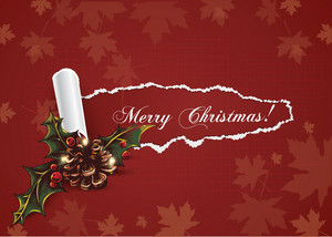 Christmas Vector Illustration With Torn Paper