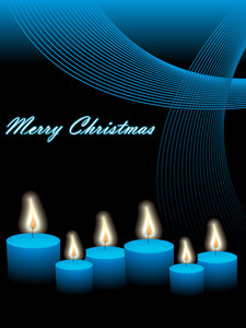 Christmas Vector With Candles And Waves