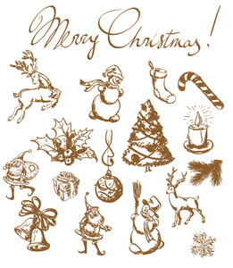 Christmas Vintage Sketches. Hand Drown Design Elements Vector Set.