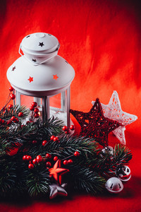 Christmas white lantern scene