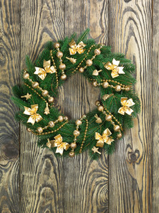 Christmas wreath on the wood door