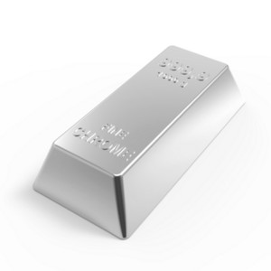 Chrome Ingot Isolated On White.