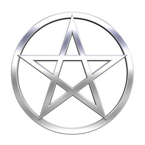 Chrome Pentagram Isolated On White.