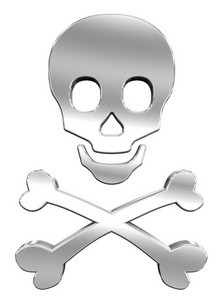 Chrome Skull And Crossbones Isolated On White.