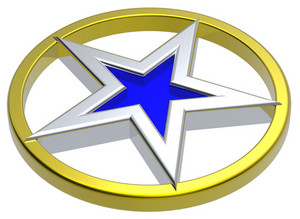 Chrome Star In A Gold Circle