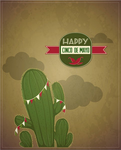 Cinco De Mayo Vector Illustration With Cactus Plant And Label