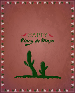 Cinco De Mayo Vector Illustration With Cactus Plant