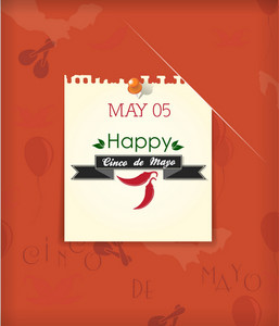 Cinco De Mayo Vector Illustration With Chilli, Label And Old Paper