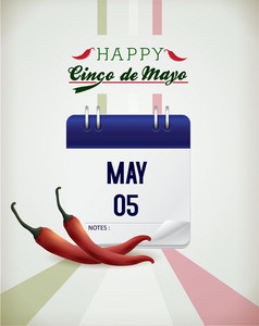 Cinco De Mayo Vector Illustration With Chilli,label And Calendar