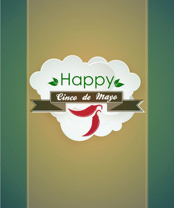 Cinco De Mayo Vector Illustration With Ribbon And Clouds