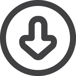 Circled Down Arrow Stroke Icon