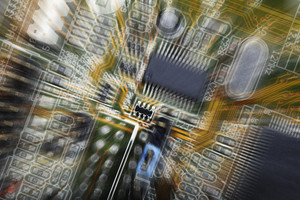 circuit-board and microchips in a zoom effect concept