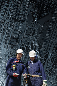 circuit-board and technicians