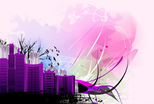 City With Grunge Vector Illustration