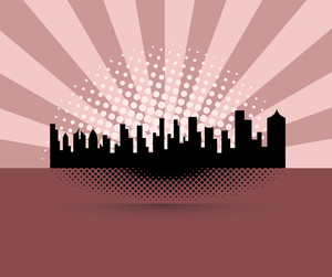 Cityscape Buildings Retro Background