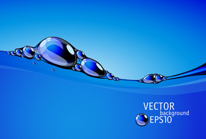 Clear Blue Water Flow With Bubbles And Droplets. Vector.