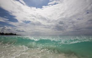 Clear wave crashing onto a tropical beach