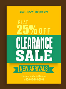 Clearance Sale poster banner or flyer design with flat 25% discount offer on new arrivals.