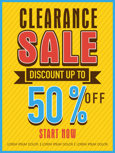 Clearance sale with discount offer flyer banner or template design for your business.