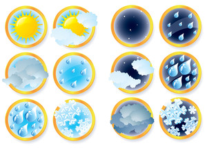 Climate And Weather Vector Icons.