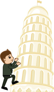 Climbing On Tower Of Pisa Vector