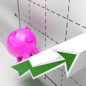 Climbing Piggy Shows Growth, Investment And Earnings
