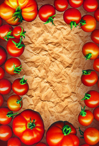 Clipping Path. Tomatoes Frame On Brown Recycling Paper