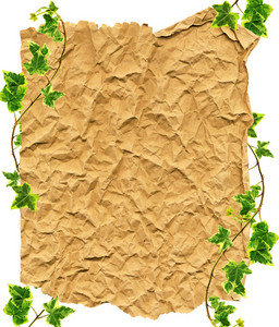 Clipping Path.crumpled Paper And Border Made Of Green Ivy On A White Background