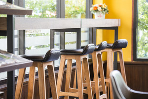 Close up chairs on coffee shop