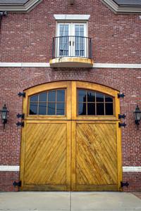 Close up detail of some vintage garage doors.