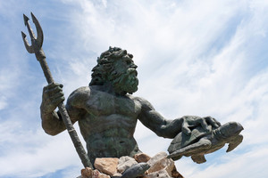 Close up detial of a large public statue of King Neptune  that welcomes all to Virginia Beach in Virginia USA.