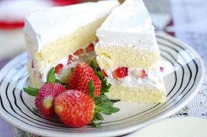 Close up home made strawberry cake