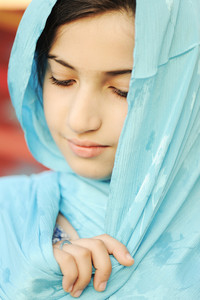 Close-up of a girl with hijab