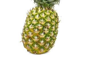 Close Up Of A Pineapple On White Background