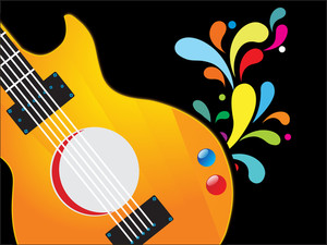 Close-up of guitar on floral decorated black background.