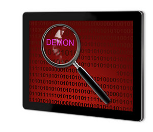 Close Up Of Magnifying Glass On Demon