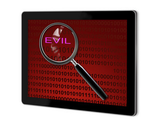 Close Up Of Magnifying Glass On Evil