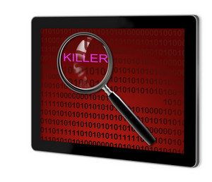 Close Up Of Magnifying Glass On Killer