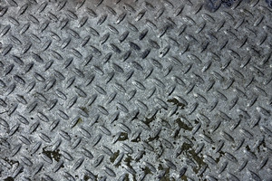 Close-up of real steel diamond plate material. this is a photo not an illustration.