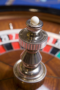 Close up of roulette wheel and ball