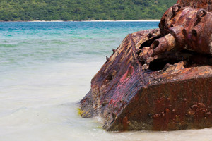 Close up of the old rusted and deserted US Army tank of Flamenco beach on the Puerto Rican island of Culebra.