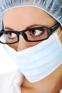 Close-up of urgent medic eye female doctor