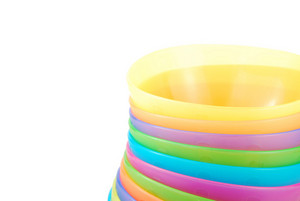 Close-up On Colorful Bowls On White